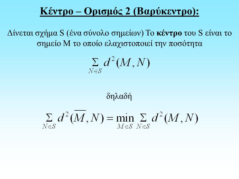 Κέντρο – Ορισμός 2 (Βαρύκεντρο): Δίνεται σχήμα S (ένα σύνολο σημείων) Το κέντρο του S είναι το σημείο M το οποίο ελαχιστοποιεί την ποσότητα δηλαδή