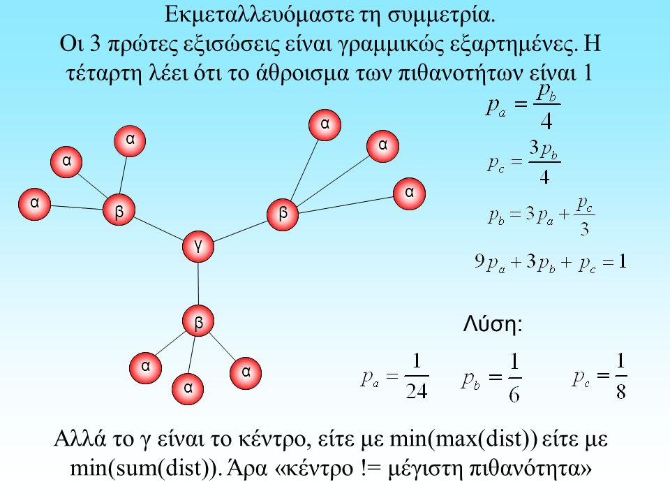 Εκμεταλλευόμαστε τη συμμετρία. Οι 3 πρώτες εξισώσεις είναι γραμμικώς εξαρτημένες. Η τέταρτη λέει ότι το άθροισμα των πιθανοτήτων είναι 1 α α α α α α α