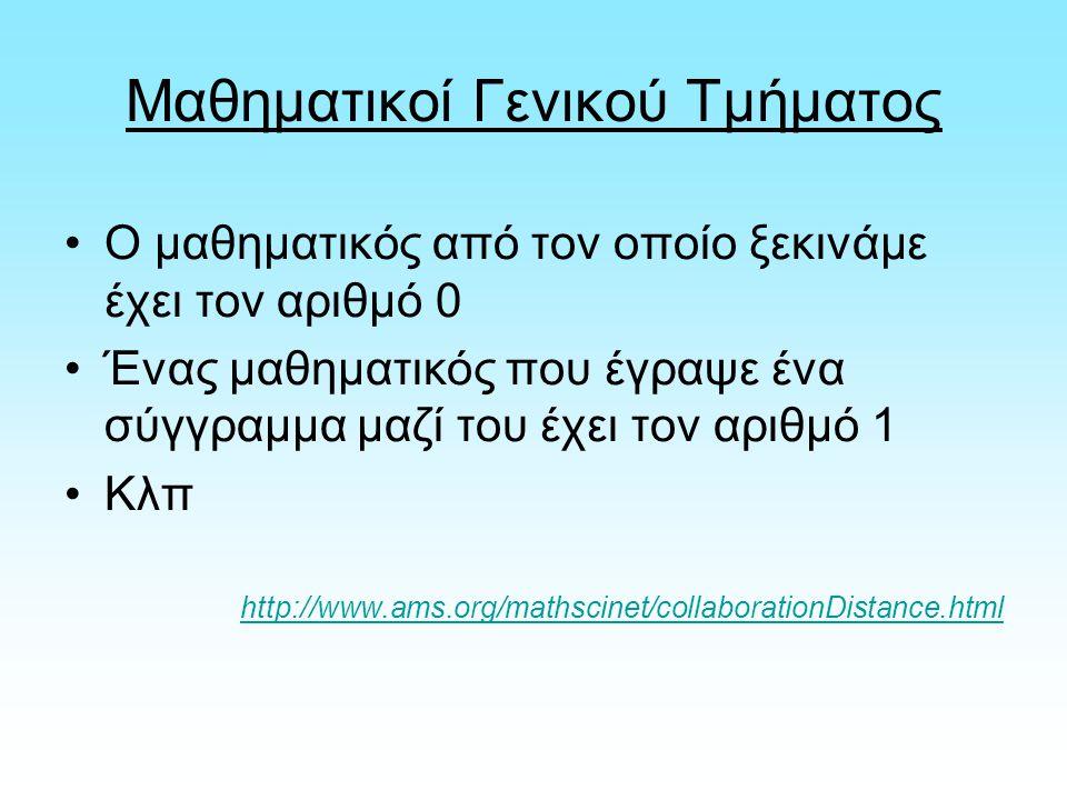Μαθηματικοί Γενικού Τμήματος Ο μαθηματικός από τον οποίο ξεκινάμε έχει τον αριθμό 0 Ένας μαθηματικός που έγραψε ένα σύγγραμμα μαζί του έχει τον αριθμό 1 Κλπ http://www.ams.org/mathscinet/collaborationDistance.html
