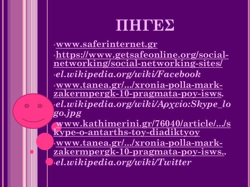 ΠΗΓΕΣ www.saferinternet.gr https://www.getsafeonline.org/social- networking/social-networking-sites/ el.wikipedia.org/wiki/Facebook www.tanea.gr/.../x