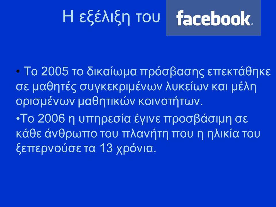 Το FACEBOOK στις μέρες μας Το Facebook σήμερα έχει πάνω από 800 εκατομμύρια ενεργούς χρήστες..