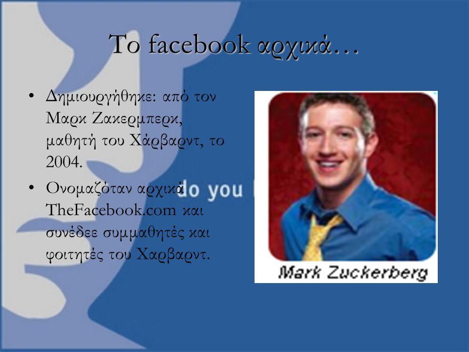 Το facebook αρχικά… Δημιουργήθηκε: από τον Μαρκ Ζακερμπερκ, μαθητή του Χάρβαρντ, το 2004. Ονομαζόταν αρχικά TheFacebook.com και συνέδεε συμμαθητές και
