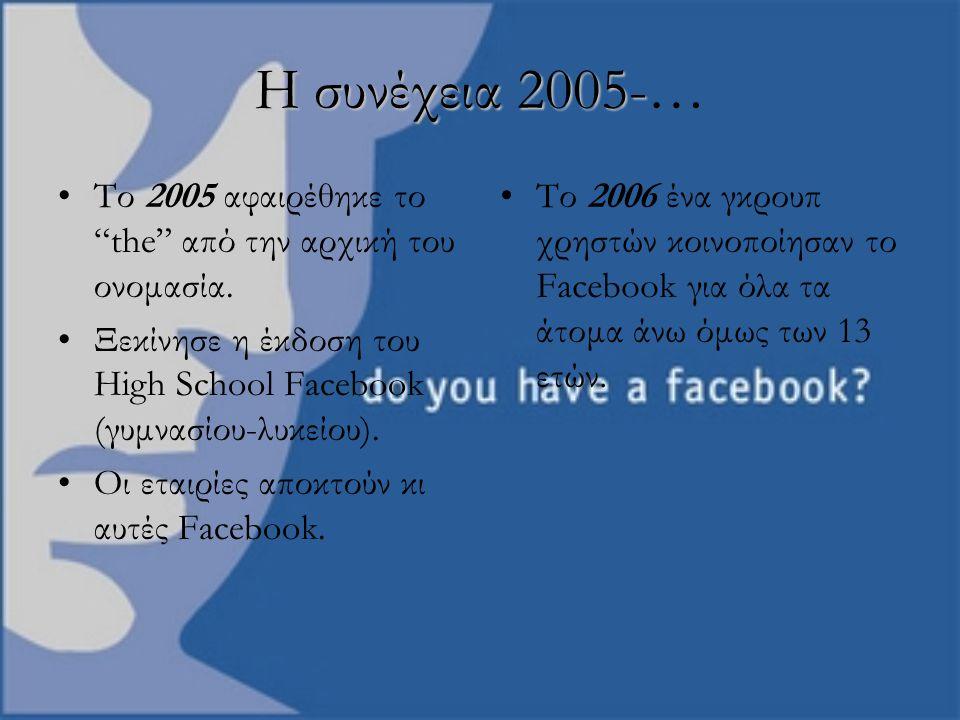 """Η συνέχεια 2005- Η συνέχεια 2005-… Το 2005 αφαιρέθηκε το """"the"""" από την αρχική του ονομασία. Ξεκίνησε η έκδοση του High School Facebook (γυμνασίου-λυκε"""