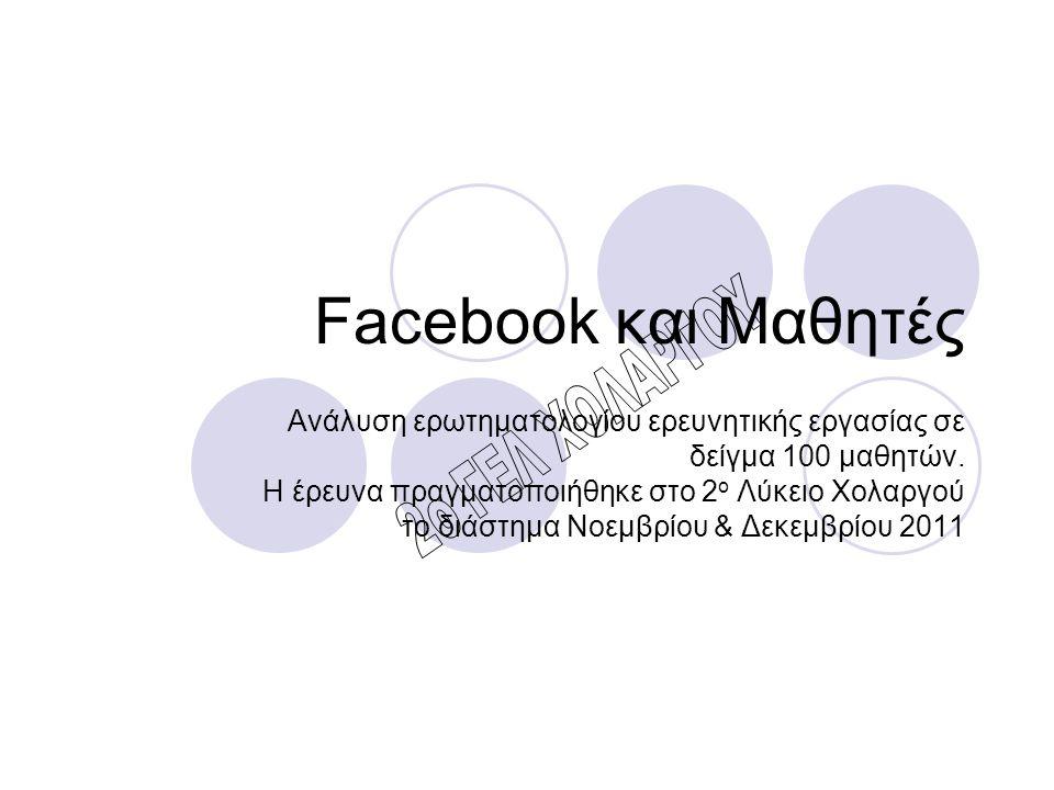 Facebook και Μαθητές Ανάλυση ερωτηματολογίου ερευνητικής εργασίας σε δείγμα 100 μαθητών. Η έρευνα πραγματοποιήθηκε στο 2 ο Λύκειο Χολαργού το διάστημα