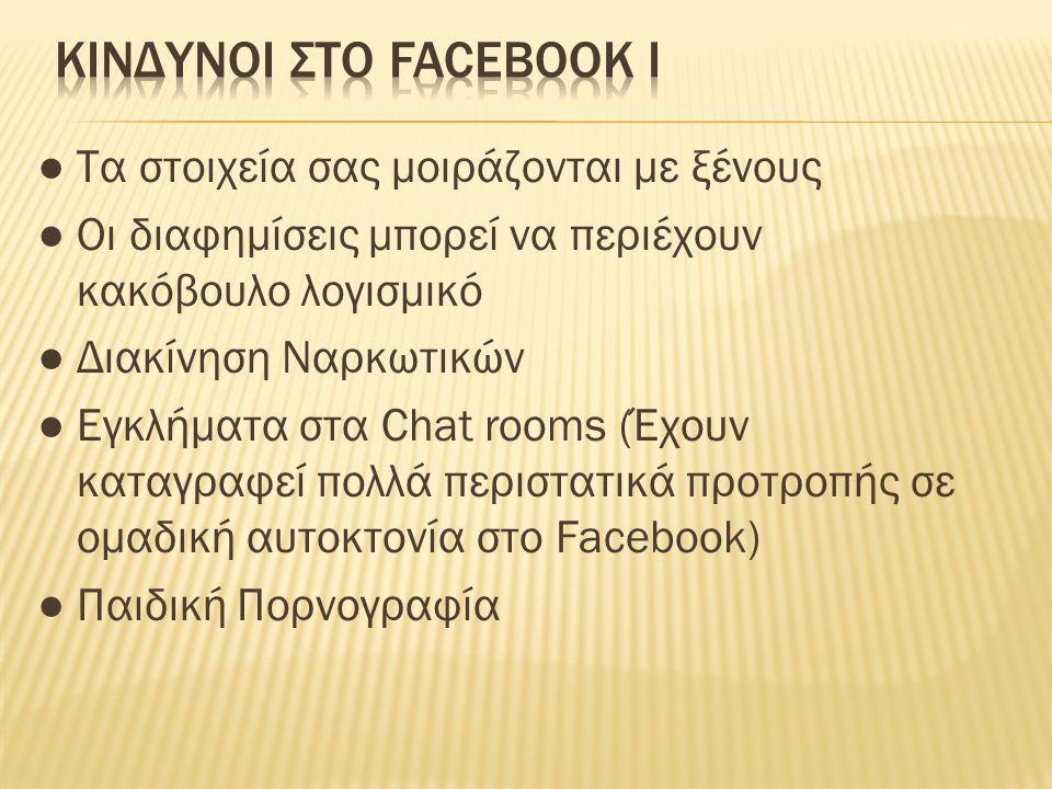 ● Απατεώνες δημιουργούν ψευδή προφίλ ● Το γλωσσικό επίπεδο των χρηστών του Facebook πολλές φορές κατρακυλάει σε ύβρεις και χυδαιολογίες, ενώ η ελληνική ορθογραφία παραχαράσσεται ● Η προστασία προσωπικών δεδομένων και οι ρυθμίσεις επανέρχονται σε λιγότερο ασφαλή προεπιλεγμένη λειτουργία μετά από καθε σύνδεση