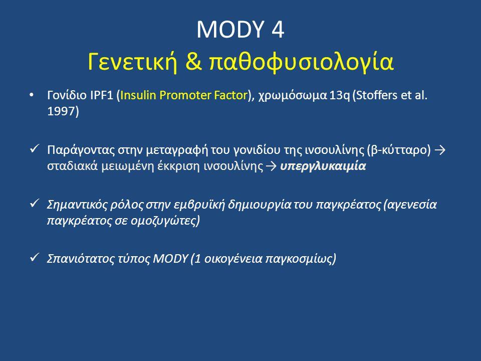 MODY 4 Γενετική & παθοφυσιολογία Γονίδιο IPF1 (Insulin Promoter Factor), χρωμόσωμα 13q (Stoffers et al. 1997) Παράγοντας στην μεταγραφή του γονιδίου τ