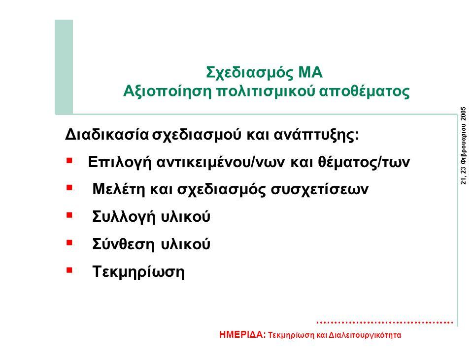 21, 23 Φεβρουαρίου 2005 ΗΜΕΡΙΔΑ: Τεκμηρίωση και Διαλειτουργικότητα Σχεδιασμός MA Αξιοποίηση πολιτισμικού αποθέματος Διαδικασία σχεδιασμού και ανάπτυξης:  Επιλογή αντικειμένου/νων και θέματος/των  Μελέτη και σχεδιασμός συσχετίσεων  Συλλογή υλικού  Σύνθεση υλικού  Τεκμηρίωση