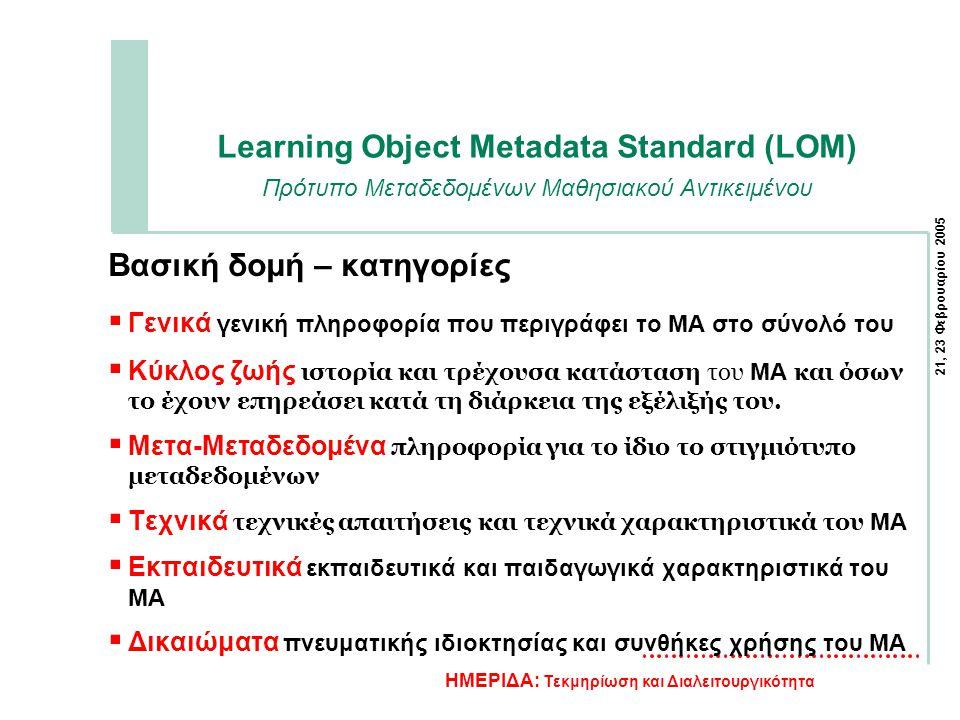 21, 23 Φεβρουαρίου 2005 ΗΜΕΡΙΔΑ: Τεκμηρίωση και Διαλειτουργικότητα Learning Object Metadata Standard (LOM) Πρότυπο Μεταδεδομένων Μαθησιακού Αντικειμένου Βασική δομή – κατηγορίες  Γενικά γενική πληροφορία που περιγράφει το ΜΑ στο σύνολό του  Κύκλος ζωής ιστορία και τρέχουσα κατάσταση του ΜΑ και όσων το έχουν επηρεάσει κατά τη διάρκεια της εξέλιξής του.