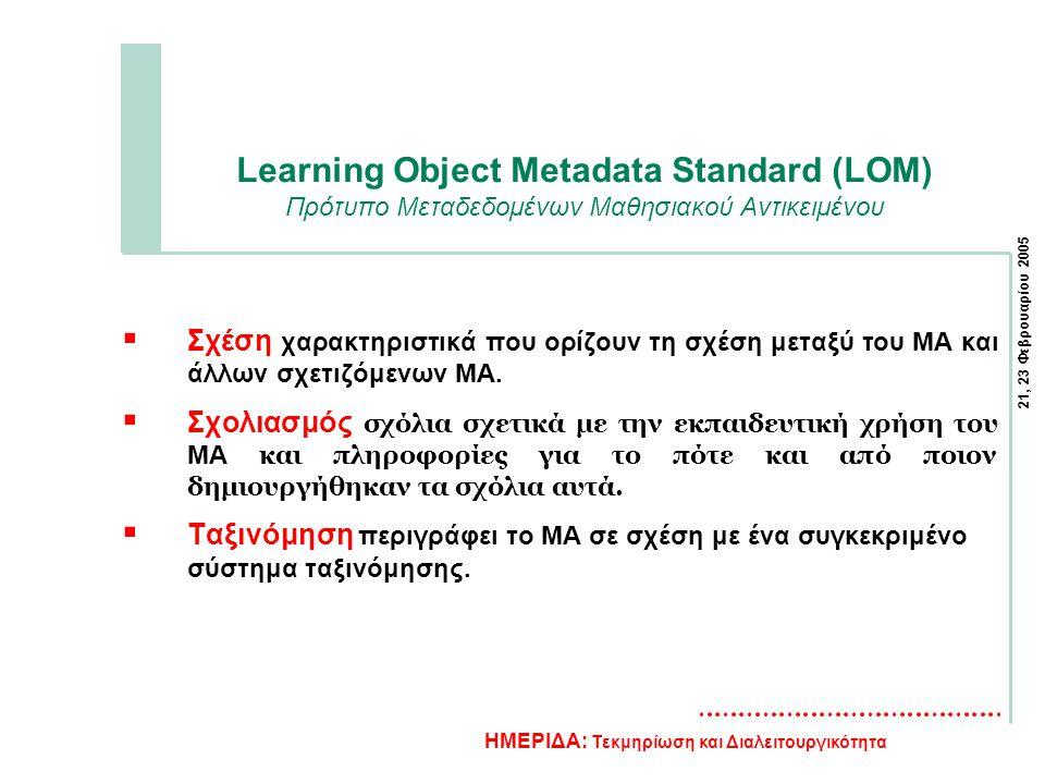 21, 23 Φεβρουαρίου 2005 ΗΜΕΡΙΔΑ: Τεκμηρίωση και Διαλειτουργικότητα Learning Object Metadata Standard (LOM) Πρότυπο Μεταδεδομένων Μαθησιακού Αντικειμένου  Σχέση χαρακτηριστικά που ορίζουν τη σχέση μεταξύ του ΜΑ και άλλων σχετιζόμενων ΜΑ.