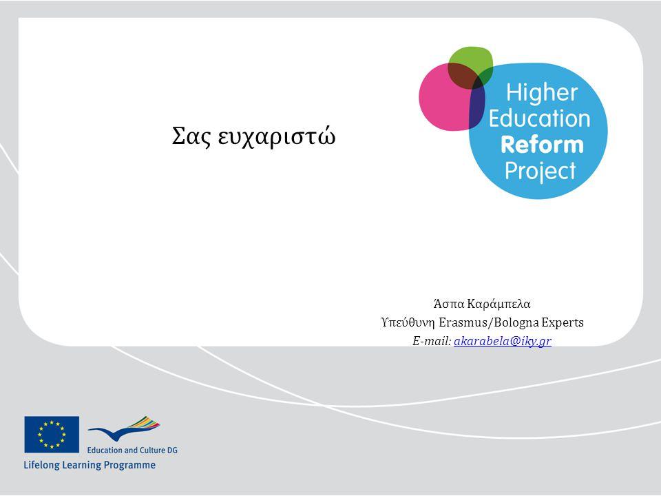 Σας ευχαριστώ Άσπα Καράμπελα Υπεύθυνη Erasmus/Bologna Experts E-mail: akarabela@iky.grakarabela@iky.gr