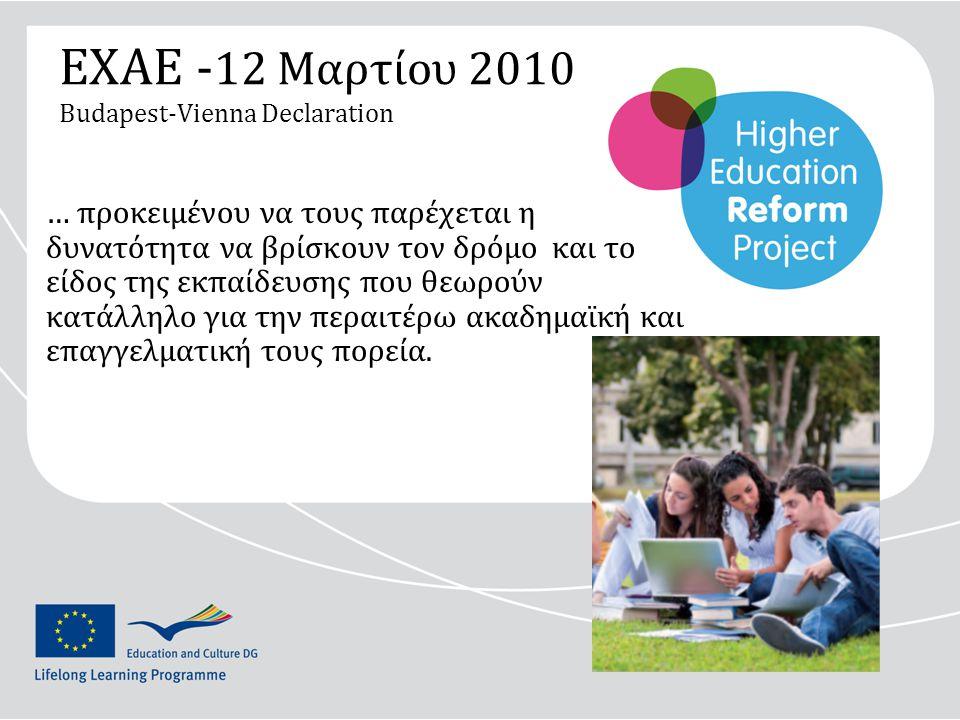ΕΧΑΕ - 12 Μαρτίου 2010 Budapest-Vienna Declaration … προκειμένου να τους παρέχεται η δυνατότητα να βρίσκουν τον δρόμο και το είδος της εκπαίδευσης που θεωρούν κατάλληλο για την περαιτέρω ακαδημαϊκή και επαγγελματική τους πορεία.