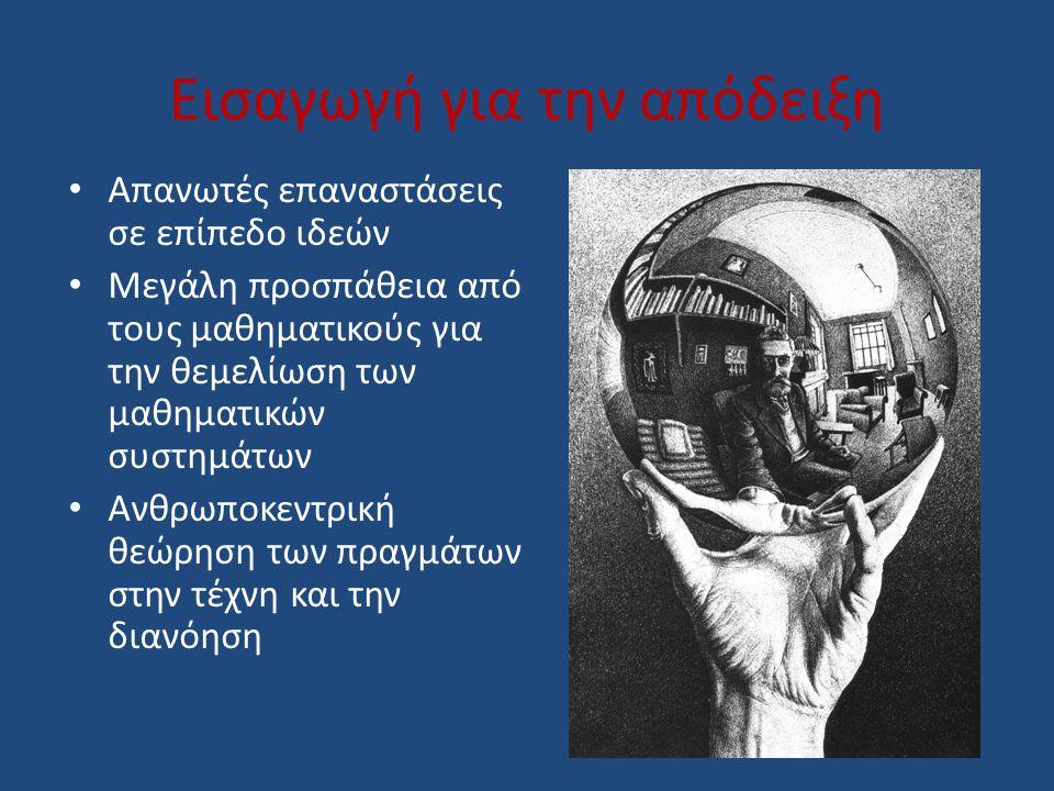 Εισαγωγή για την απόδειξη Απανωτές επαναστάσεις σε επίπεδο ιδεών Μεγάλη προσπάθεια από τους μαθηματικούς για την θεμελίωση των μαθηματικών συστημάτων