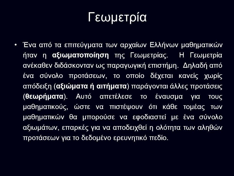 Γεωμετρία Ένα από τα επιτεύγματα των αρχαίων Ελλήνων μαθηματικών ήταν η αξιωματοποίηση της Γεωμετρίας.