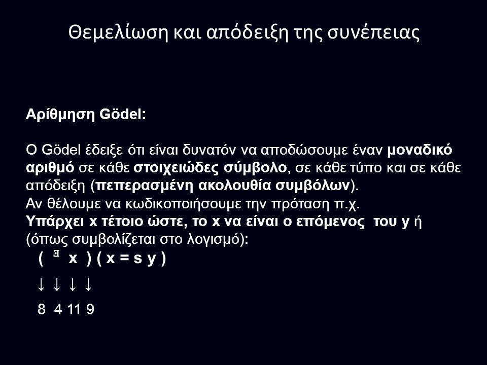 Θεμελίωση και απόδειξη της συνέπειας Αρίθμηση Gödel: Ο Gödel έδειξε ότι είναι δυνατόν να αποδώσουμε έναν μοναδικό αριθμό σε κάθε στοιχειώδες σύμβολο, σε κάθε τύπο και σε κάθε απόδειξη (πεπερασμένη ακολουθία συμβόλων).