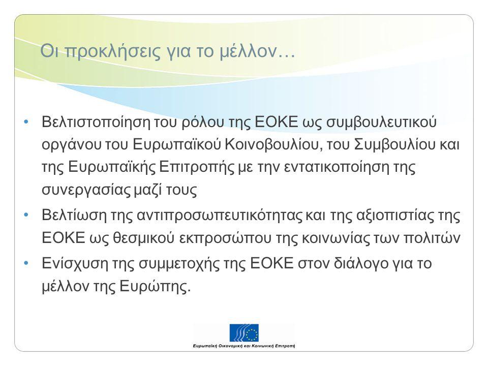 Οι προκλήσεις για το μέλλον… Βελτιστοποίηση του ρόλου της ΕΟΚΕ ως συμβουλευτικού οργάνου του Ευρωπαϊκού Κοινοβουλίου, του Συμβουλίου και της Ευρωπαϊκής Επιτροπής με την εντατικοποίηση της συνεργασίας μαζί τους Βελτίωση της αντιπροσωπευτικότητας και της αξιοπιστίας της ΕΟΚΕ ως θεσμικού εκπροσώπου της κοινωνίας των πολιτών Ενίσχυση της συμμετοχής της ΕΟΚΕ στον διάλογο για το μέλλον της Ευρώπης.