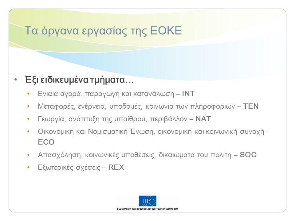 Τα όργανα εργασίας της ΕΟΚΕ Έξι ειδικευμένα τμήματα… Ενιαία αγορά, παραγωγή και κατανάλωση – INT Μεταφορές, ενέργεια, υποδομές, κοινωνία των πληροφοριών – TEN Γεωργία, ανάπτυξη της υπαίθρου, περιβάλλον – NAT Οικονομική και Νομισματική Ένωση, οικονομική και κοινωνική συνοχή – ECO Απασχόληση, κοινωνικές υποθέσεις, δικαιώματα του πολίτη – SOC Εξωτερικές σχέσεις – REX