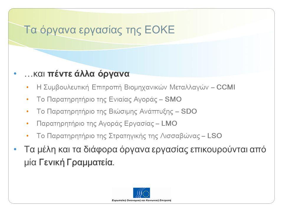 Τα όργανα εργασίας της ΕΟΚΕ …και πέντε άλλα όργανα Η Συμβουλευτική Επιτροπή Βιομηχανικών Μεταλλαγών – CCMI Το Παρατηρητήριο της Ενιαίας Αγοράς – SMO Το Παρατηρητήριο της Βιώσιμης Ανάπτυξης – SDO Παρατηρητήριο της Αγοράς Εργασίας – LMO Το Παρατηρητήριο της Στρατηγικής της Λισσαβώνας – LSO Τα μέλη και τα διάφορα όργανα εργασίας επικουρούνται από μία Γενική Γραμματεία.