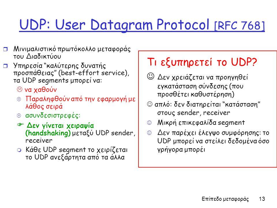 Επίπεδο μεταφοράς 13 UDP: User Datagram Protocol [RFC 768] r Μινιμαλιστικό πρωτόκολλο μεταφοράς του Διαδικτύου r Υπηρεσία καλύτερης δυνατής προσπάθειας (best-effort service), τα UDP segments μπορεί να:  να χαθούν  Παραληφθούν από την εφαρμογή με λάθος σειρά  ασυνδεσιστρεφές:  Δεν γίνεται χειραψία (handshaking) μεταξύ UDP sender, receiver m Κάθε UDP segment το χειρίζεται το UDP ανεξάρτητα από τα άλλα Τι εξυπηρετεί το UDP.