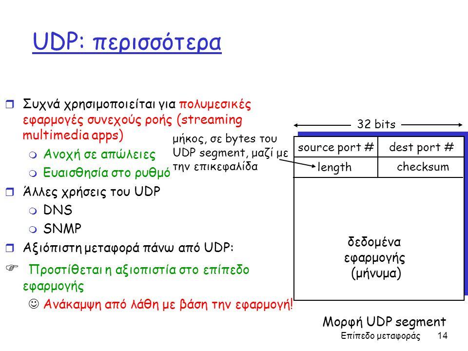 Επίπεδο μεταφοράς 14 UDP: περισσότερα r Συχνά χρησιμοποιείται για πολυμεσικές εφαρμογές συνεχούς ροής (streaming multimedia apps) m Ανοχή σε απώλειες m Ευαισθησία στο ρυθμό r Άλλες χρήσεις του UDP m DNS m SNMP r Αξιόπιστη μεταφορά πάνω από UDP:  Προστίθεται η αξιοπιστία στο επίπεδο εφαρμογής Ανάκαμψη από λάθη με βάση την εφαρμογή.