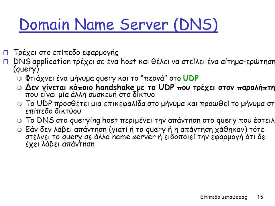 Επίπεδο μεταφοράς 15 Domain Name Server (DNS) r Τρέχει στο επίπεδο εφαρμογής r DNS application τρέχει σε ένα host και θέλει να στείλει ένα αίτημα-ερώτηση (query) m Φτιάχνει ένα μήνυμα query και το περνά στο UDP m Δεν γίνεται κάποιο handshake με το UDP που τρέχει στον παραλήπτη που είναι μία άλλη συσκευή στο δίκτυο m Το UDP προσθέτει μια επικεφαλίδα στο μήνυμα και προωθεί το μήνυμα στο επίπεδο δικτύου m To DNS στο querying host περιμένει την απάντηση στο query που έστειλε m Εάν δεν λάβει απάντηση (γιατί ή το query ή η απάντηση χάθηκαν) τότε στέλνει το query σε άλλο name server ή ειδοποιεί την εφαρμογή ότι δε έχει λάβει απάντηση