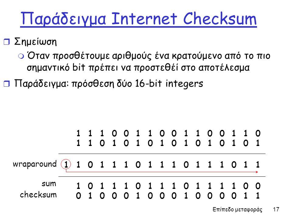 Επίπεδο μεταφοράς 17 Παράδειγμα Internet Checksum r Σημείωση m Όταν προσθέτουμε αριθμούς ένα κρατούμενο από το πιο σημαντικό bit πρέπει να προστεθέί στο αποτέλεσμα r Παράδειγμα: πρόσθεση δύο 16-bit integers 1 1 1 1 0 0 1 1 0 0 1 1 0 0 1 1 0 1 1 1 0 1 0 1 0 1 0 1 0 1 0 1 0 1 1 1 0 1 1 1 0 1 1 1 0 1 1 1 0 1 1 1 1 0 1 1 1 0 1 1 1 0 1 1 1 1 0 0 1 0 1 0 0 0 1 0 0 0 1 0 0 0 0 1 1 wraparound sum checksum