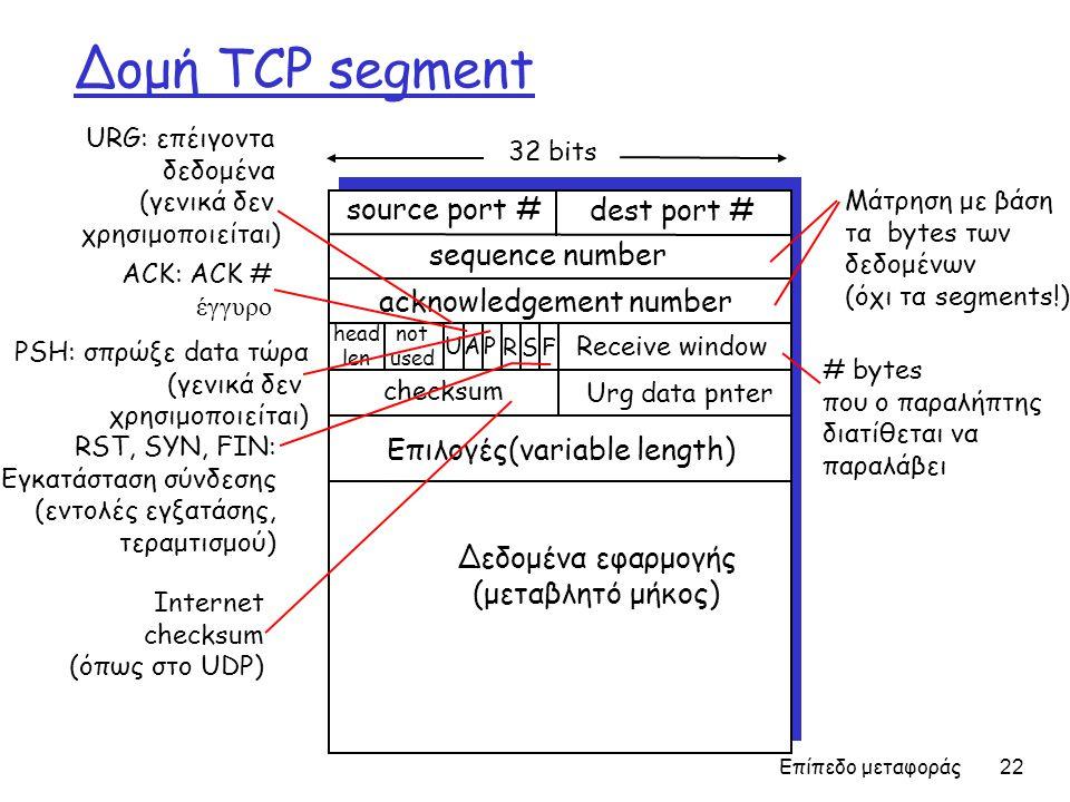 Επίπεδο μεταφοράς 22 Δομή TCP segment source port # dest port # 32 bits Δεδομένα εφαρμογής (μεταβλητό μήκος) sequence number acknowledgement number Receive window Urg data pnter checksum F SR PAU head len not used Επιλογές(variable length) URG: επέιγοντa δεδομένα (γενικά δεν χρησιμοποιείται) ACK: ACK # έγγυρο PSH: σπρώξε data τώρα (γενικά δεν χρησιμοποιείται) RST, SYN, FIN: Εγκατάσταση σύνδεσης (εντολές εγξατάσης, τεραμτισμού) # bytes που ο παραλήπτης διατίθεται να παραλάβει Μάτρηση με βάση τα bytes των δεδομένων (όχι τα segments!) Internet checksum (όπως στο UDP)