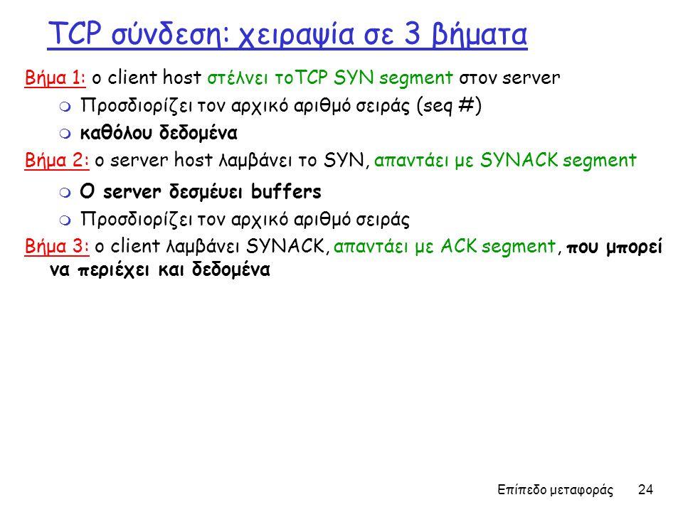 Επίπεδο μεταφοράς 24 TCP σύνδεση: χειραψία σε 3 βήματα Βήμα 1: ο client host στέλνει τοTCP SYN segment στον server m Προσδιορίζει τον αρχικό αριθμό σειράς (seq #) m καθόλου δεδομένα Βήμα 2: ο server host λαμβάνει το SYN, απαντάει με SYNACK segment m Ο server δεσμέυει buffers m Προσδιορίζει τον αρχικό αριθμό σειράς Βήμα 3: ο client λαμβάνει SYNACK, απαντάει με ACK segment, που μπορεί να περιέχει και δεδομένα