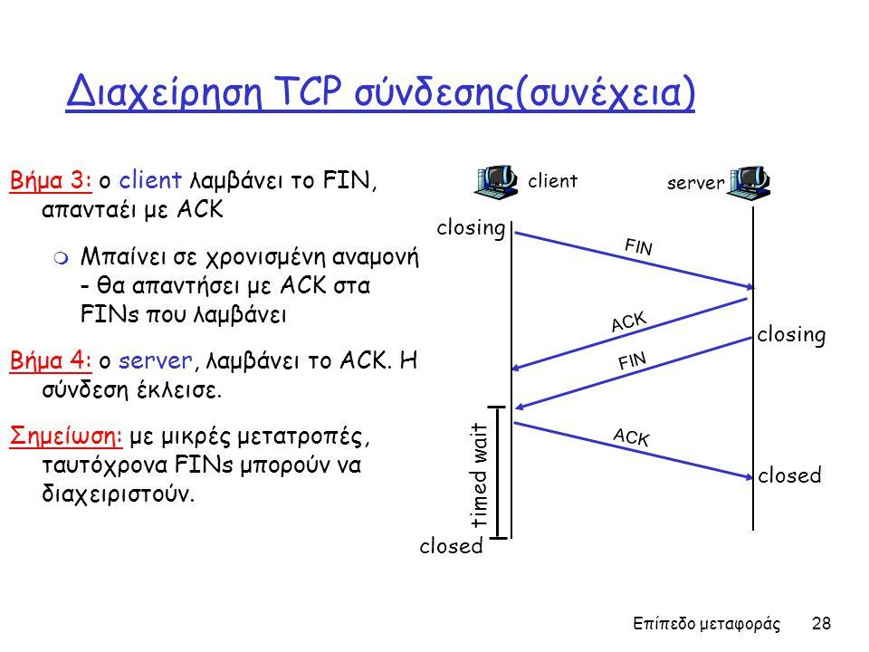 Επίπεδο μεταφοράς 28 Διαχείρηση TCP σύνδεσης(συνέχεια) Βήμα 3: ο client λαμβάνει το FIN, απανταέι με ACK m Μπαίνει σε χρονισμένη αναμονή - θα απαντήσει με ACK στα FINs που λαμβάνει Βήμα 4: ο server, λαμβάνει το ACK.