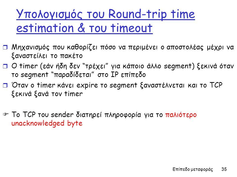 Επίπεδο μεταφοράς 35 Υπολογισμός του Round-trip time estimation & του timeout r Μηχανισμός που καθορίζει πόσο να περιμένει ο αποστολέας μέχρι να ξαναστείλει το πακέτο r Ο timer (εάν ήδη δεν τρέχει για κάποιο άλλο segment) ξεκινά όταν το segment παραδίδεται στο IP επίπεδο r Όταν ο timer κάνει expire το segment ξαναστέλνεται και το TCP ξεκινά ξανά τον timer  Το TCP του sender διατηρεί πληροφορία για το παλιότερο unacknowledged byte