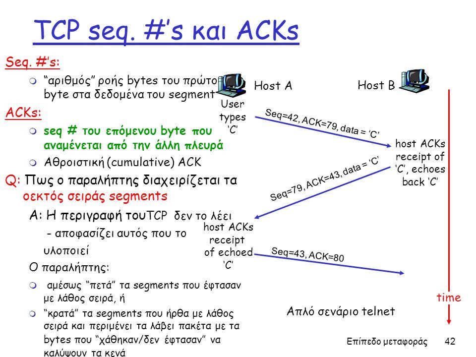Επίπεδο μεταφοράς 42 TCP seq. #'s και ACKs Seq.