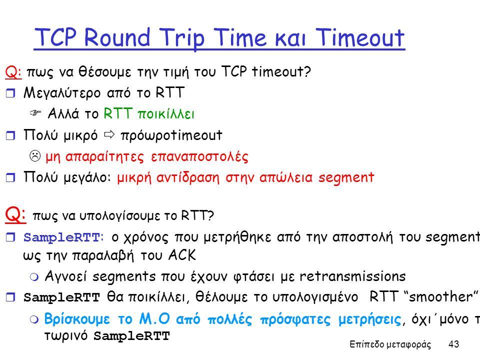 Επίπεδο μεταφοράς 43 TCP Round Trip Time και Timeout Q: πως να θέσουμε την τιμή του TCP timeout.