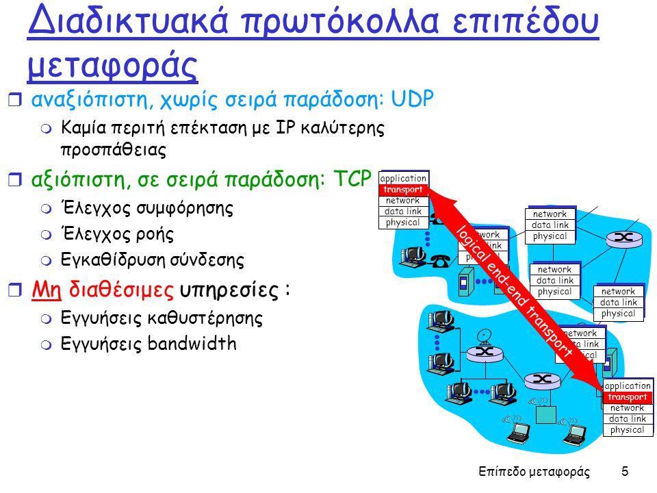 Επίπεδο μεταφοράς 5 Διαδικτυακά πρωτόκολλα επιπέδου μεταφοράς r αναξιόπιστη, χωρίς σειρά παράδοση: UDP m Καμία περιτή επέκταση με IP καλύτερης προσπάθειας r αξιόπιστη, σε σειρά παράδοση: TCP m Έλεγχος συμφόρησης m Έλεγχος ροής m Εγκαθίδρυση σύνδεσης r Μη διαθέσιμες υπηρεσίες : m Εγγυήσεις καθυστέρησης m Εγγυήσεις bandwidth application transport network data link physical application transport network data link physical network data link physical network data link physical network data link physical network data link physical network data link physical logical end-end transport