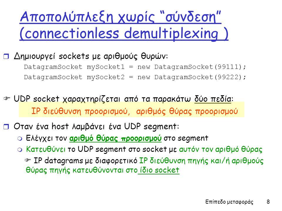 Επίπεδο μεταφοράς 8 Aποπολύπλεξη χωρίς σύνδεση (connectionless demultiplexing ) r Δημιουργεί sockets με αριθμούς θυρών: DatagramSocket mySocket1 = new DatagramSocket(99111); DatagramSocket mySocket2 = new DatagramSocket(99222);  UDP socket χαραχτηρίζεται από τα παρακάτω δύο πεδία: IP διεύθυνση προορισμού, αριθμός θύρας προορισμού r Οταν ένα host λαμβάνει ένα UDP segment: m Ελέγχει τον αριθμό θύρας προορισμού στο segment m Κατευθύνει το UDP segment στο socket με αυτόν τον αριθμό θύρας  IP datagrams με διαφορετικό IP διεύθυνση πηγής και/ή αριθμούς θύρας πηγής κατευθύνονται στο ίδιο socket