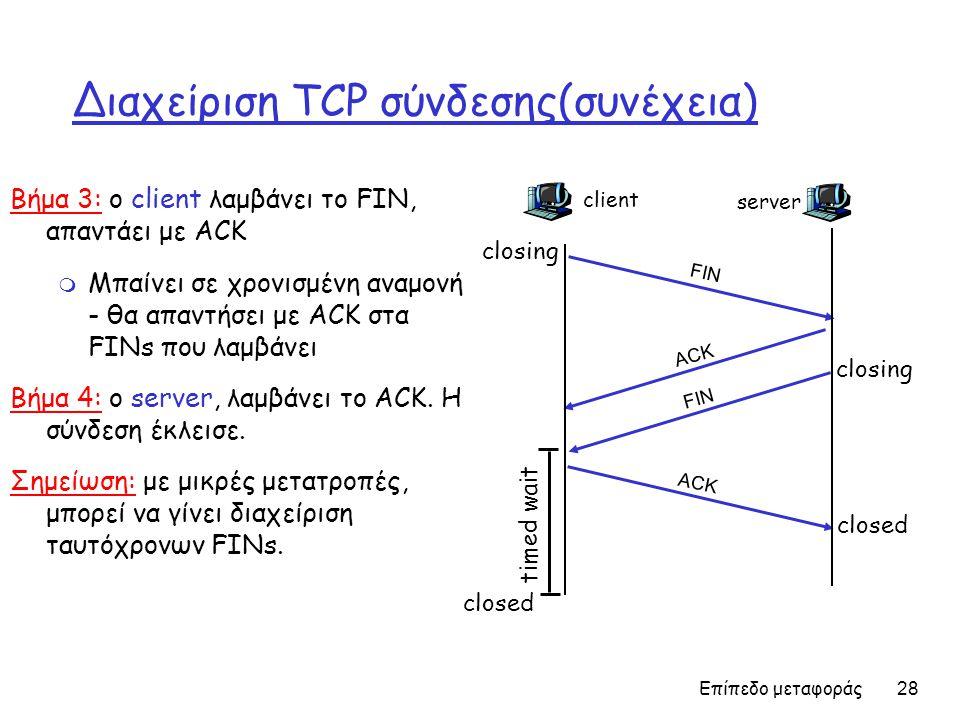 Επίπεδο μεταφοράς 28 Διαχείριση TCP σύνδεσης(συνέχεια) Βήμα 3: ο client λαμβάνει το FIN, απαντάει με ACK m Μπαίνει σε χρονισμένη αναμονή - θα απαντήσε
