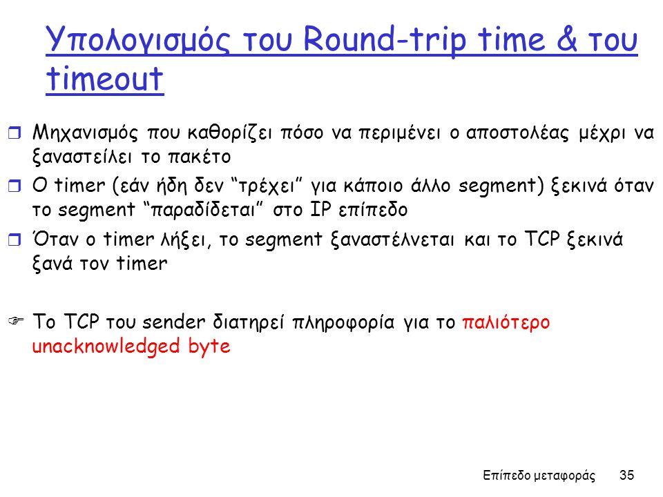 Επίπεδο μεταφοράς 35 Υπολογισμός του Round-trip time & του timeout r Μηχανισμός που καθορίζει πόσο να περιμένει ο αποστολέας μέχρι να ξαναστείλει το π