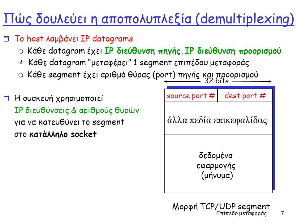 Επίπεδο μεταφοράς 8 Aποπολυπλεξία χωρίς σύνδεση (connectionless demultiplexing ) r Δημιουργεί sockets με αριθμούς θυρών: DatagramSocket mySocket1 = new DatagramSocket(99111); DatagramSocket mySocket2 = new DatagramSocket(99222);  UDP socket χαρα κ τηρίζεται από τα παρακάτω δύο πεδία: IP διεύθυνση προορισμού, αριθμός θύρας προορισμού r Οταν ένας host λαμβάνει ένα UDP segment: m Ελέγχει τον αριθμό θύρας προορισμού στο segment m Κατευθύνει το UDP segment στο socket με βάση αυτό τον αριθμό θύρας  IP datagrams με διαφορετική IP διεύθυνση πηγής ή/και αριθμούς θύρας πηγής κατευθύνονται στο ίδιο socket