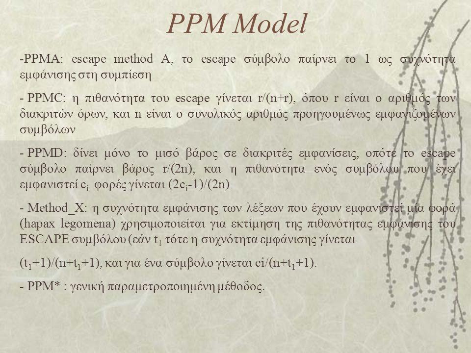 PPM Model -PPMA: escape method A, το escape σύμβολο παίρνει το 1 ως συχνότητα εμφάνισης στη συμπίεση - PPMC: η πιθανότητα του escape γίνεται r/(n+r), όπου r είναι ο αριθμός των διακριτών όρων, και n είναι ο συνολικός αριθμός προηγουμένως εμφανιζομένων συμβόλων - PPMD: δίνει μόνο το μισό βάρος σε διακριτές εμφανίσεις, οπότε το escape σύμβολο παίρνει βάρος r/(2n), και η πιθανότητα ενός συμβόλου που έχει εμφανιστεί c i φορές γίνεται (2c i -1)/(2n) - Method_X: η συχνότητα εμφάνισης των λέξεων που έχουν εμφανιστεί μία φορά (hapax legomena) χρησιμοποιείται για εκτίμηση της πιθανότητας εμφάνισης του ESCAPE συμβόλου (εάν t 1 τότε η συχνότητα εμφάνισης γίνεται (t 1 +1)/(n+t 1 +1), και για ένα σύμβολο γίνεται ci/(n+t 1 +1).