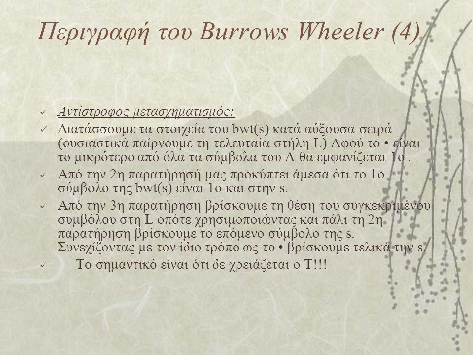 Περιγραφή του Burrows Wheeler (4) Αντίστροφος μετασχηματισμός: Διατάσσουμε τα στοιχεία του bwt(s) κατά αύξουσα σειρά (ουσιαστικά παίρνουμε τη τελευταί