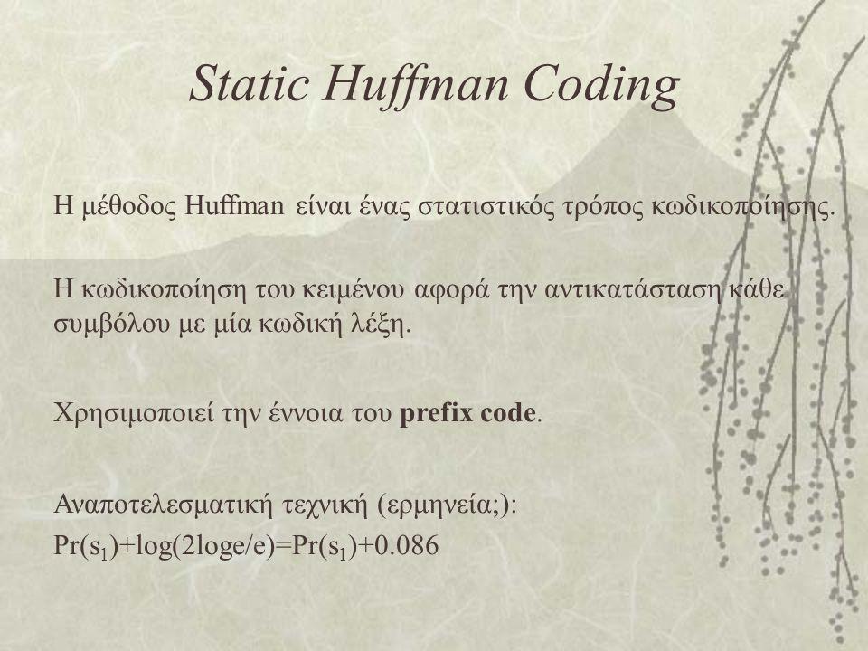 Static Huffman Coding Η μέθοδος Huffman είναι ένας στατιστικός τρόπος κωδικοποίησης. Η κωδικοποίηση του κειμένου αφορά την αντικατάσταση κάθε συμβόλου