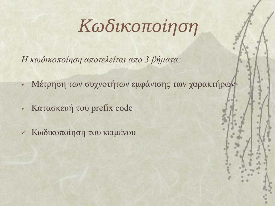 Κωδικοποίηση Η κωδικοποίηση αποτελείται απο 3 βήματα: Μέτρηση των συχνοτήτων εμφάνισης των χαρακτήρων Κατασκευή του prefix code Κωδικοποίηση του κειμέ