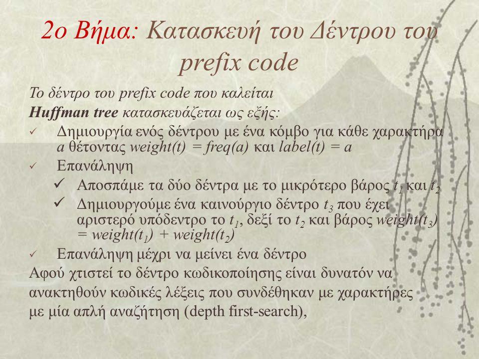 2ο Βήμα: Κατασκευή του Δέντρου του prefix code Το δέντρο του prefix code που καλείται Huffman tree κατασκευάζεται ως εξής: Δημιουργία ενός δέντρου με ένα κόμβο για κάθε χαρακτήρα a θέτοντας weight(t) = freq(a) και label(t) = a Επανάληψη Αποσπάμε τα δύο δέντρα με το μικρότερο βάρος t 1 και t 2 Δημιουργούμε ένα καινούργιο δέντρο t 3 που έχει αριστερό υπόδεντρο το t 1, δεξί το t 2 και βάρος weight(t 3 ) = weight(t 1 ) + weight(t 2 ) Επανάληψη μέχρι να μείνει ένα δέντρο Αφού χτιστεί το δέντρο κωδικοποίησης είναι δυνατόν να ανακτηθούν κωδικές λέξεις που συνδέθηκαν με χαρακτήρες με μία απλή αναζήτηση (depth first-search),