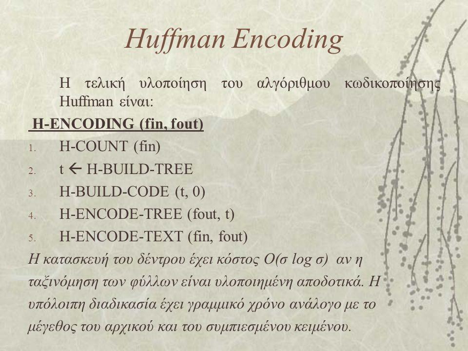 Huffman Encoding Η τελική υλοποίηση του αλγόριθμου κωδικοποίησης Huffman είναι: H-ENCODING (fin, fout) 1. H-COUNT (fin) 2. t  H-BUILD-TREE 3. H-BUILD