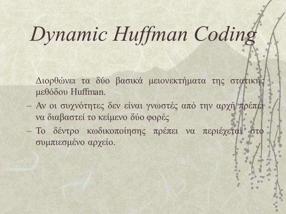 Dynamic Huffman Coding Διορθώνει τα δύο βασικά μειονεκτήματα της στατικής μεθόδου Huffman. –Αν οι συχνότητες δεν είναι γνωστές από την αρχή πρέπει να
