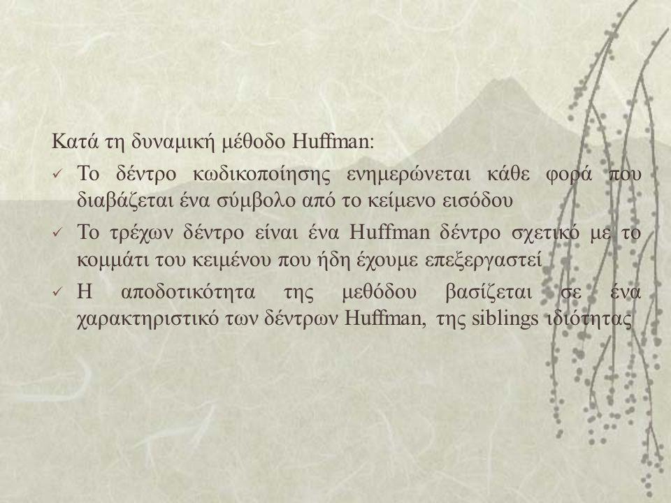 Κατά τη δυναμική μέθοδο Huffman: Το δέντρο κωδικοποίησης ενημερώνεται κάθε φορά που διαβάζεται ένα σύμβολο από το κείμενο εισόδου Το τρέχων δέντρο είναι ένα Huffman δέντρο σχετικό με το κομμάτι του κειμένου που ήδη έχουμε επεξεργαστεί Η αποδοτικότητα της μεθόδου βασίζεται σε ένα χαρακτηριστικό των δέντρων Huffman, της siblings ιδιότητας