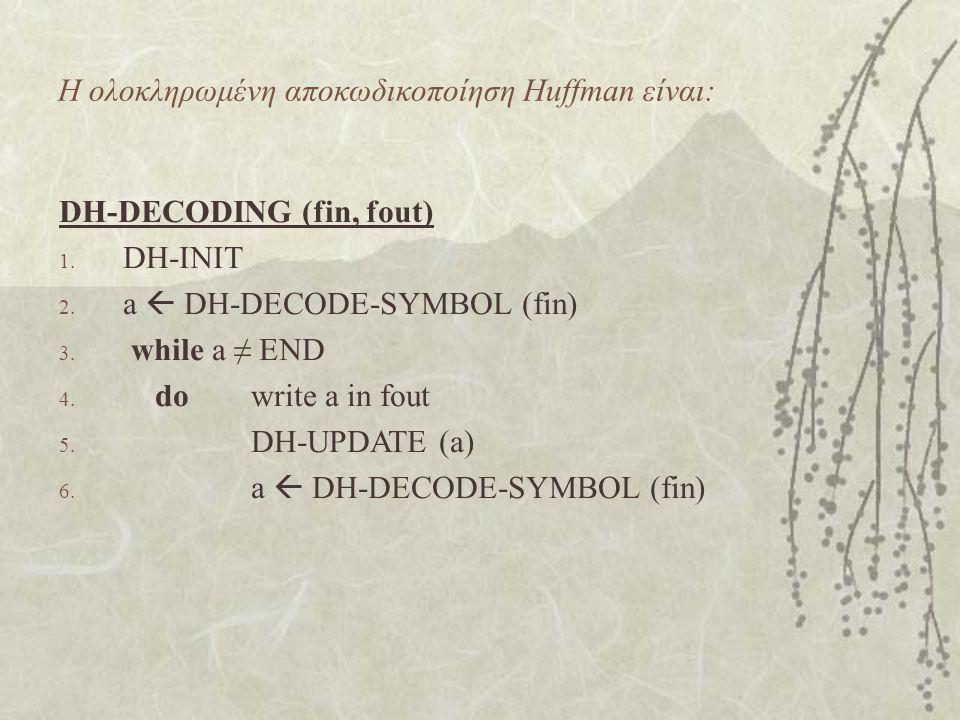 Η ολοκληρωμένη αποκωδικοποίηση Huffman είναι: DH-DECODING (fin, fout) 1. DH-INIT 2. a  DH-DECODE-SYMBOL (fin) 3. while a ≠ END 4. dowrite a in fout 5