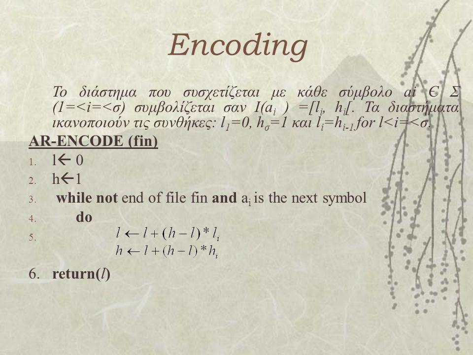Encoding Το διάστημα που συσχετίζεται με κάθε σύμβολο ai Є Σ (1=<i=<σ) συμβολίζεται σαν Ι(a i ) =[l i, h i [. Τα διαστήματα ικανοποιούν τις συνθήκες:
