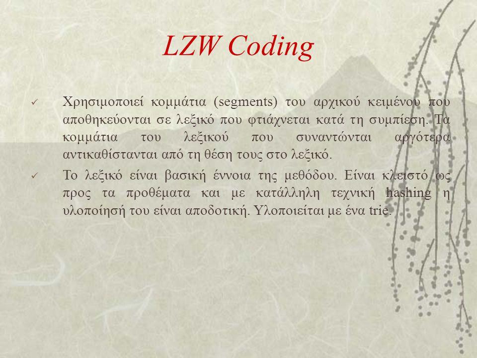 LZW Coding Χρησιμοποιεί κομμάτια (segments) του αρχικού κειμένου που αποθηκεύονται σε λεξικό που φτιάχνεται κατά τη συμπίεση. Τα κομμάτια του λεξικού