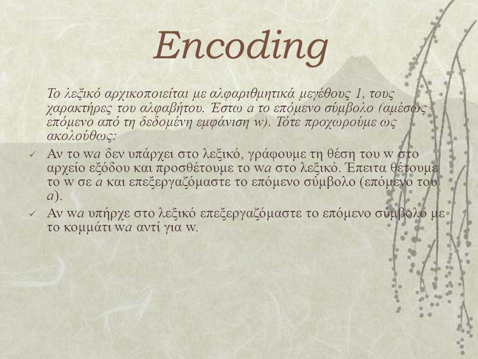 Encoding Το λεξικό αρχικοποιείται με αλφαριθμητικά μεγέθους 1, τους χαρακτήρες του αλφαβήτου. Έστω a το επόμενο σύμβολο (αμέσως επόμενο από τη δεδομέν