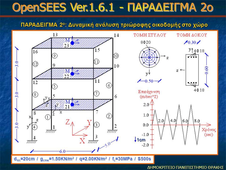 ΠΑΡΑΔΕΙΓΜΑ 2 ο : Δυναμική ανάλυση τριώροφης οικοδομής στο χώρο ΠΑΡΑΔΕΙΓΜΑ 2 ο : Δυναμική ανάλυση τριώροφης οικοδομής στο χώρο ΔΗΜΟΚΡΙΤΕΙΟ ΠΑΝΕΠΙΣΤΗΜΙΟ ΘΡΑΚΗΣ d πλ =20cm / g επικ =1.50ΚΝ/m 2 / q=2.00KN/m 2 / f c =30MPa / S500s 1cm
