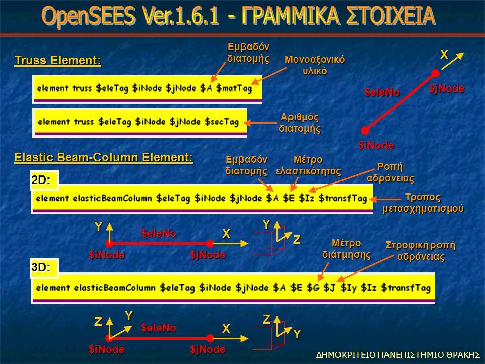 ΔΗΜΟΚΡΙΤΕΙΟ ΠΑΝΕΠΙΣΤΗΜΙΟ ΘΡΑΚΗΣ ########################################### # Διάβασμα επιταχύνσεων εδαφους από αρχείο # pattern UniformExcitation 2 1 -accel {Series -dt 0.25 -values {0.0 0.75 1.5 0.75 0.0 -0.75 -1.5 -0.75 0.0 0.75 1.5 0.75 0.0 -0.75 -1.5 -0.75 0.0 1.0 2.0 1.0 0.0 -1.0 -2.0 -1.0 0.0 1.0 2.0 1.0 0.0 - 1.0 -2.0 -1.0 0.0} -factor 1.0}; pattern UniformExcitation 3 2 -accel {Series -dt 0.25 -values {0.0 0.75 1.5 0.75 0.0 -0.75 -1.5 -0.75 0.0 0.75 1.5 0.75 0.0 -0.75 -1.5 -0.75 0.0 1.0 2.0 1.0 0.0 -1.0 -2.0 -1.0 0.0 1.0 2.0 1.0 0.0 - 1.0 -2.0 -1.0 0.0} -factor 1.0}; ########### # Ανάλυση # constraints Transformation; numberer RCM; test EnergyIncr 1e-8 20 1; algorithm ModifiedNewton -initial; integrator Newmark 0.5 0.25; system SparseGeneral -piv; analysis Transient; ############################ # Καταγραφή αποτελεσμάτων # recorder Node -file building3D_accel_disp.out -time -node 21 22 23 -dof 1 2 disp ; analyze 800 0.01; Αριθμός φόρτισης Αριθμός φόρτισης Διεύθυνση επιβολής επιταχύνσεων Χρονικό διάστημα μεταξύ τιμών επιτάχυνσης της χρονοϊστορίας Χρονικό διάστημα μεταξύ τιμών επιτάχυνσης της χρονοϊστορίας Δυναμική ανάλυση Δυναμική ανάλυση Επιβολή φόρτισης με μέθοδο Newmark (για δυναμική ανάλυση) Επιβολή φόρτισης με μέθοδο Newmark (για δυναμική ανάλυση) 800 βήματα ανάλυσης ανά 0.01sec το καθένα - συνολική διάρκεια διέγερσης 800*0.01=8sec